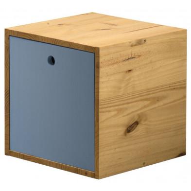 Boîte - panier bleu contemporain en bois massif pin L. 35,5 x H. 35,5 cm collection Vladimir