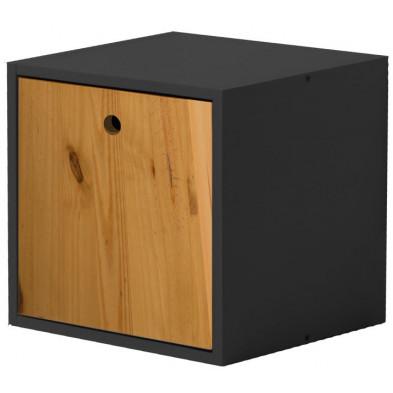Boîte - panier contemporain marron en bois massif pin L. 35,5 x H. 35,5 cm collection Vladimir