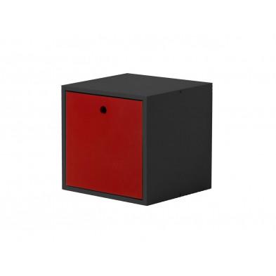 Boîte - panier contemporain rouge  en bois massif L. 35,5 x H. 35,5 cm collection Vladimir