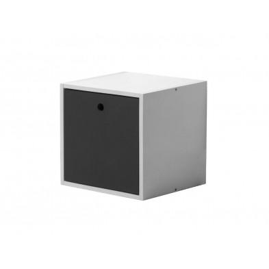 Boîte - panier contemporain gris en bois massif  L. 35,5 x H. 35,5 cm collection Vladimir
