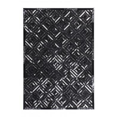 Tapis vintage en cuir véritable gris avec des motifs géométrique L. 170 x P. 120 x H. 0,8 cm Collection  Zeke