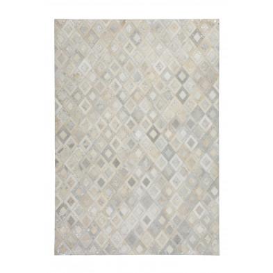 Tapis retro & patchwork gris vintage tissé à la main en cuir véritable L. 170 x P. 120 x H. 0,8 cm  collection Threatening