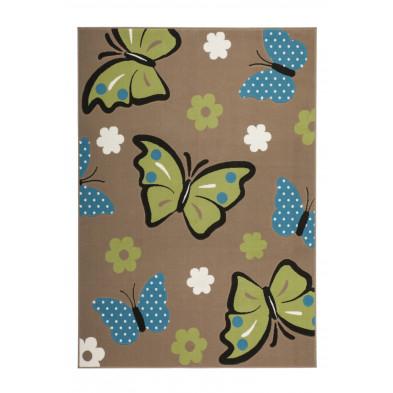 Tapis enfant coloris marron L. 230 x P. 160 x H. 1 cm  avec des motifs papillons collection
