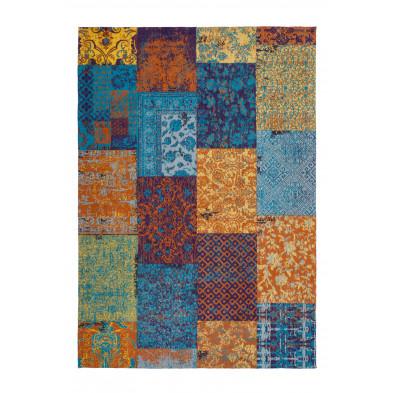 Tapis retro & patchwork multicouleur vintage tissé à la main en coton chenille L. 150 x P. 80 x H. 1 cm collection Naomie