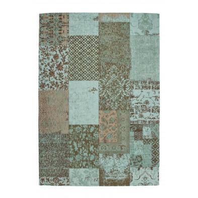 Tapis retro & patchwork bleu vintage tissé à la main en coton chenille L. 290 x P. 200 x H. 1 cm collection Naomie