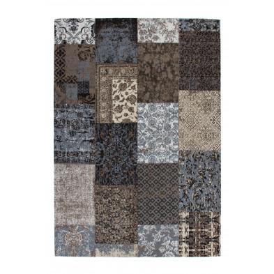 Tapis retro & patchwork marron vintage tissé à la main en coton chenille L. 170 x P. 120 x H. 1 cm collection Naomie