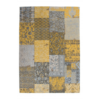 Tapis retro & patchwork jaune vintage tissé à la main en coton chenille L. 230 x P. 160 x H. 1 cm  collection Naomie