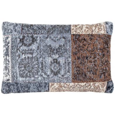 Coussin et oreiller marron vintage tissé à la main en coton chenille L. 60 x P. 40 x H. 0 cm collection Naomie