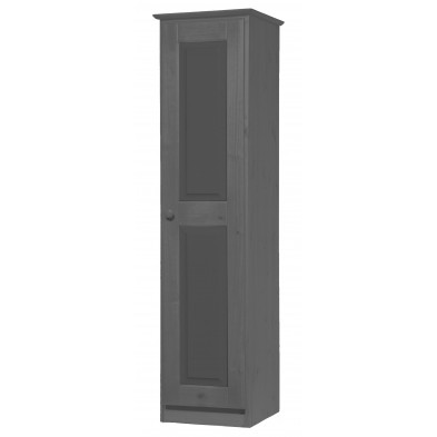 Armoire enfant contemporaine gris  en bois massif L. 46 x H. 196 cm collection Genoveffa
