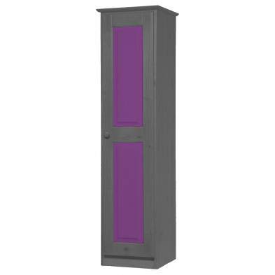 Armoire enfant contemporaine violet  en  bois massif L. 46 x H. 196 cm collection Genoveffa