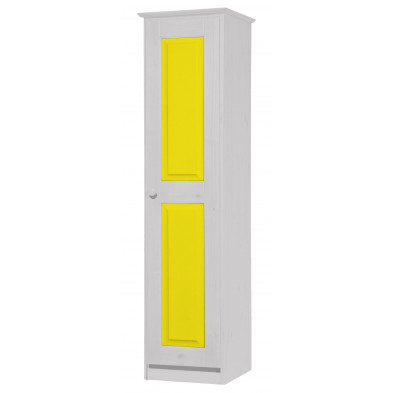 Armoire enfant contemporaine jaune en bois massif  L. 46 x H. 196 cm collection Genoveffa