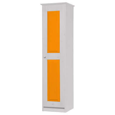 Armoire enfant contemporaine orange  en bois massif    L. 46 x H. 196 cm collection Genoveffa