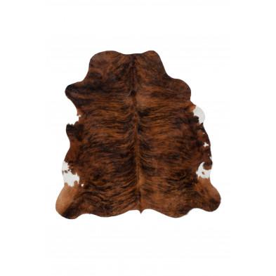 Tapis en cuir marron rustique tissé à la main en cuir véritable L. 220 x P. 155 x H. 0,5 cm collection Adalgisa