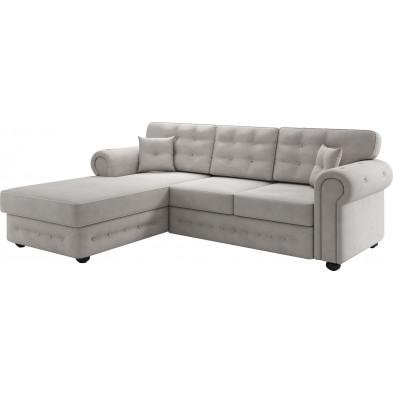 Canapés d'angle beige moderne en tissu 3 places L. 220-175 x P. 94 x H. 93 cm collection GENOVA