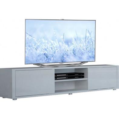 Meuble tv blanc design en panneaux de particules de haute qualité L. 160 x P. 40 x H. 40 cm collection Borsje