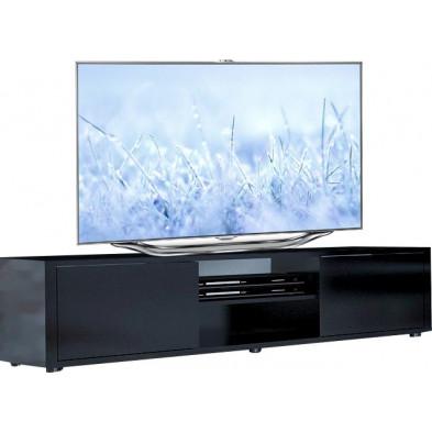 Meuble tv noir design en panneaux de particules de haute qualité L. 160 x P. 40 x H. 40 cm collection Borsje