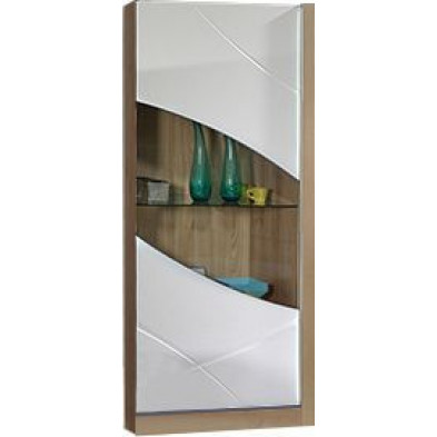 Vitrine blanc moderne en L. 70 x P. 47 x H. 169 cm  collection Strike