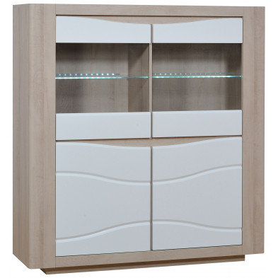 Vitrine marron design L. 145 x P. 43 x H. 156 cm collection Mcmahan