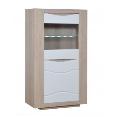 Argentier - vaisselier - vitrine marron design L. 88 x P. 43 x H. 200 cm collection Mcmahan
