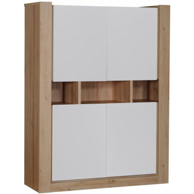 Vitrine blanc design en panneaux de particules de haute qualité L. 130 x P. 45 x H. 170 cm collection Balemans