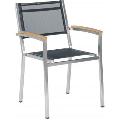 Chaise de jardin empilable en acier coloris noir avec accoudoirs en teck  L. 59 x P. 45 x H. 88 cm collection Barclay