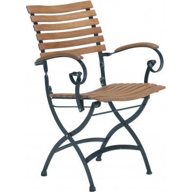 Chaise de jardin en teck coloris bois L. 57 x P. 40 x H. 85 cm collection