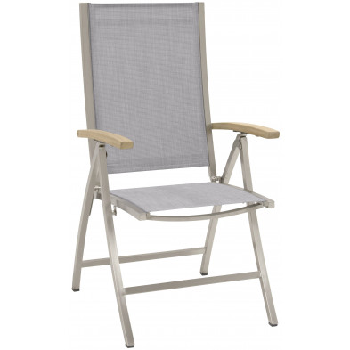 Chaise de jardin avec dossier haut empilable en acier coloris gris cendré L. 59 x P. 45 x H. 108 cm collection Barclay