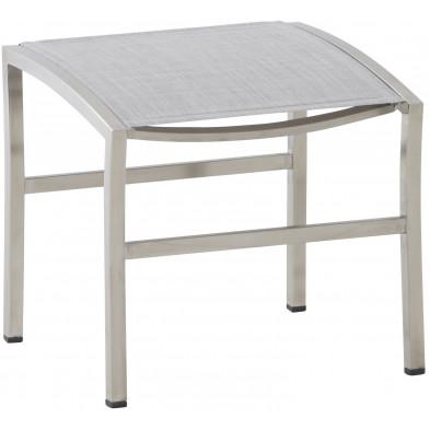 Repose-pieds de jardin empilable en acier et polyester enduit coloris gris cendre L. 50 x P. 45 x H. 47 cm collection Barclay