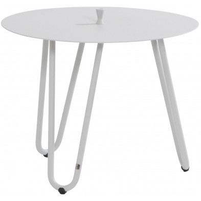 Table d'appoint de jardin design blanc en aluminium L. 60 x H. 45 cm x P. 60 cm Collection Jamal