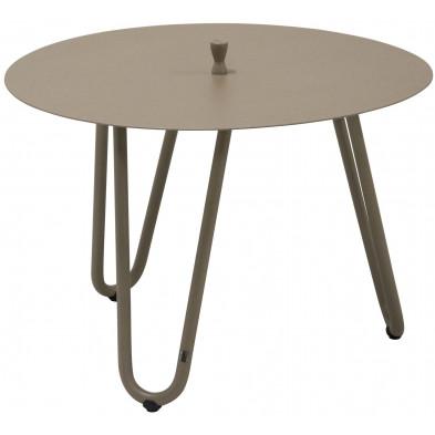 Table d'appoint de jardin design taupe en aluminium L. 60 x H. 40 cm x P. 60 cm Collection Jamal