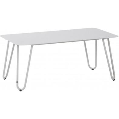 Table basse de jardin design blanc en aluminium L. 110 x H. 45 cm x P. 59 cm Collection Jamal