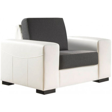 Fauteuil moderne blanc contemporain en acier 1 place L. 105 x P. 93 x H. 84 cm collection ROTTERDAM