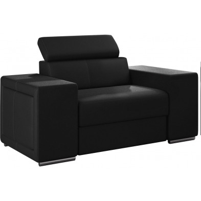 Fauteuils noir moderne en pvc 1 place L. 127 x P. 96 x H. 67-100 cm collection SANDRA