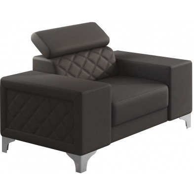 Fauteuils marron moderne en pvc polyester 1 place L. 129 x P. 94 x H. 67-100 cm collection LUGANO