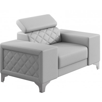 Fauteuils blanc moderne en pvc polyester 1 place L. 129 x P. 94 x H. 67-100 cm collection LUGANO