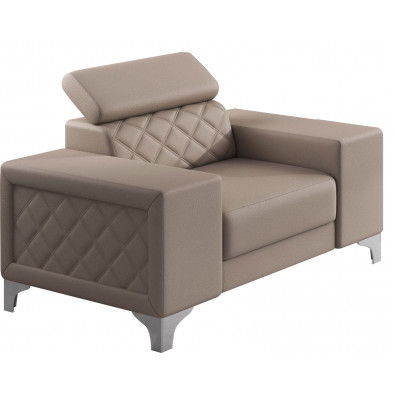 Fauteuils beige moderne en pvc polyester 1 place L. 129 x P. 94 x H. 67-100 cm collection UGANO