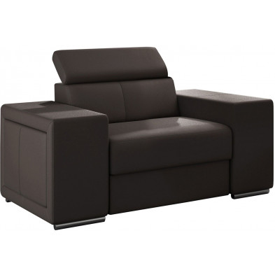 Fauteuils marron moderne en pvc 1 place L. 127 x P. 96 x H. 67-100 cm collection SANDRA