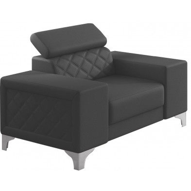 Fauteuils gris moderne en pvc polyester 1 place L. 129 x P. 94 x H. 67-100 cm collection LUGANO