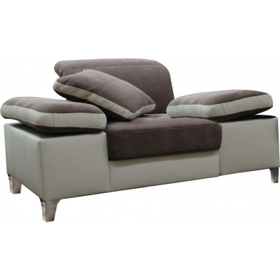 Fauteuils beige design en acier polyester 1 place L. 130 x P. 95 x H. 66-96 cm collection SARA