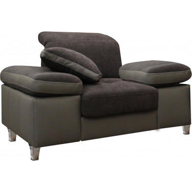 Fauteuils marron design en acier polyester 1 place L. 130 x P. 95 x H. 66-96 cm collection SARA