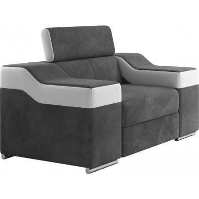 Fauteuils blanc design en acier polyester 1 place L. 125 x P. 95-96 x H. 82-102 cm collection MIAMI