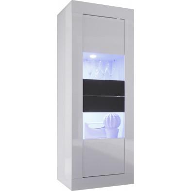 Vitrine blanc design en panneaux de particules de haute qualité L. 61 x P. 43 x H. 162 cm collection Dow