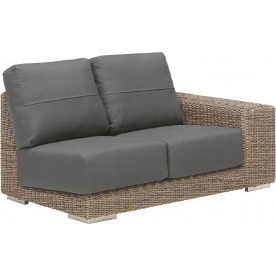 Canapé de jardin 2 places avec accoudoir à gauche en résine tressée coloris marron et gris L. 150 x P. 90 x H. 65 cm collection  Savonera