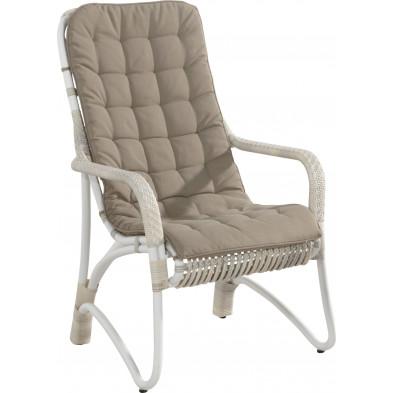 Chaise de jardin avec dossier haut coloris taupe et blanc L. 80 x P. 63 x H. 101 cm collection Digest