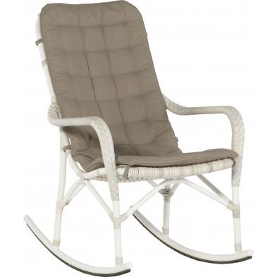 Chaise à bascule de jardin avec dossier haut coloris taupe et blanc L. 63 x P. 90 x H. 98 cm collection Digest