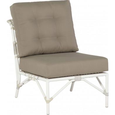 Chaise de jardin sans accoudoir en résine tressée coloris taupe et blanc  L. 60 x P. 88 x H. 70 cm collection Pilsach