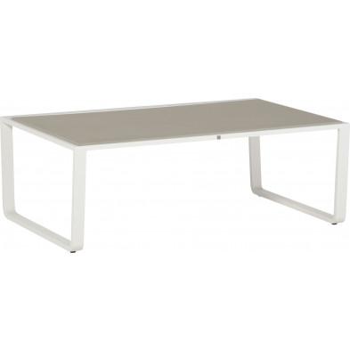 Table basse de jardin moderne blanc en aluminium L. 120 x H. 44 cm x P. 70 cm Collection Barna