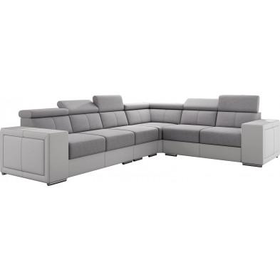 Canapés d'angle gris design en acier réversible  6 places L. 260-325 x P. 94 x H. 67-100 cm collection SANDRA