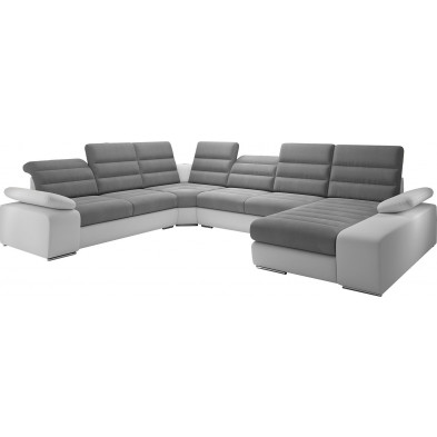 Canapés d'angle convertibles gris design en acier 6 places L. 360 x P. 287-183 x H. 86-100 cm collection BERGAMO