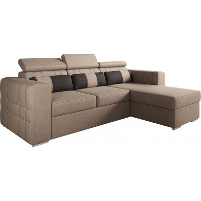 Canapés d'angle réversible  convertibles marron design en tissu 3 places L. 248-170 x P. 96 x H. 83-97 cm collection TOMMY